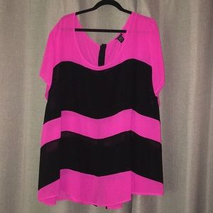 Torrid shear pink and black blouse